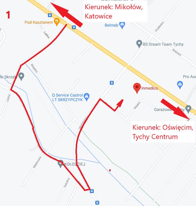 Dojazd do CM INMEDICO w związku z zamknięciem ul. Obywatelskiej
